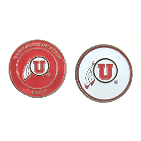 9dc0e597fe4 Image Unavailable. Image not available for. Color  Utah Utes NCAA Double-Sided  Golf Ball Marker