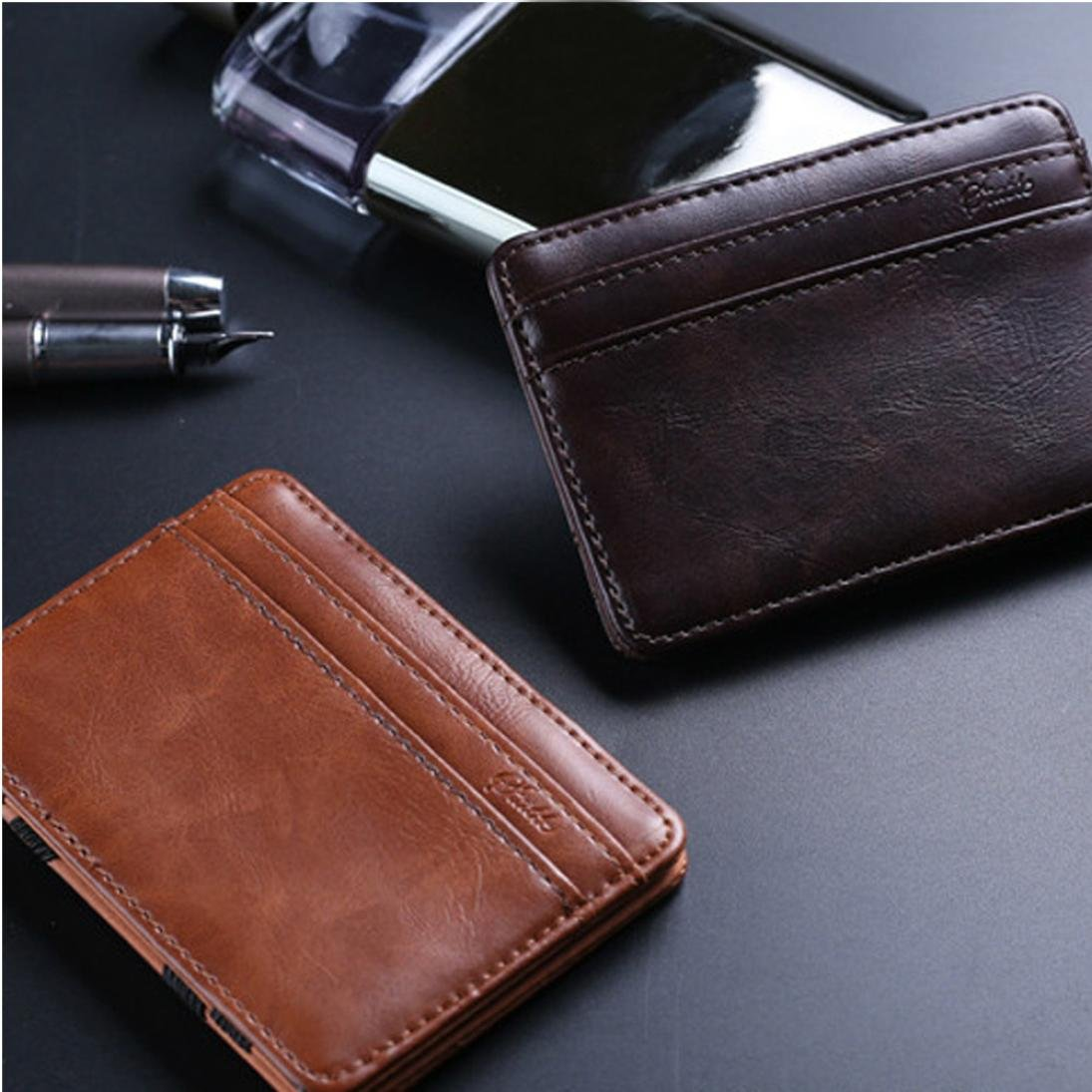 Pausseo Male Mini Leather Wallet ID Credit Card Wallet Small Wallet Coin Purse C-Coffee