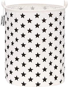 "Sea Team 19.7 Inches Large Sized Waterproof Coating Ramie Cotton Fabric Folding Laundry Hamper Bucket Cylindric Burlap Canvas Storage Basket with Stylish Stars Design (19.7"", Black Star)"