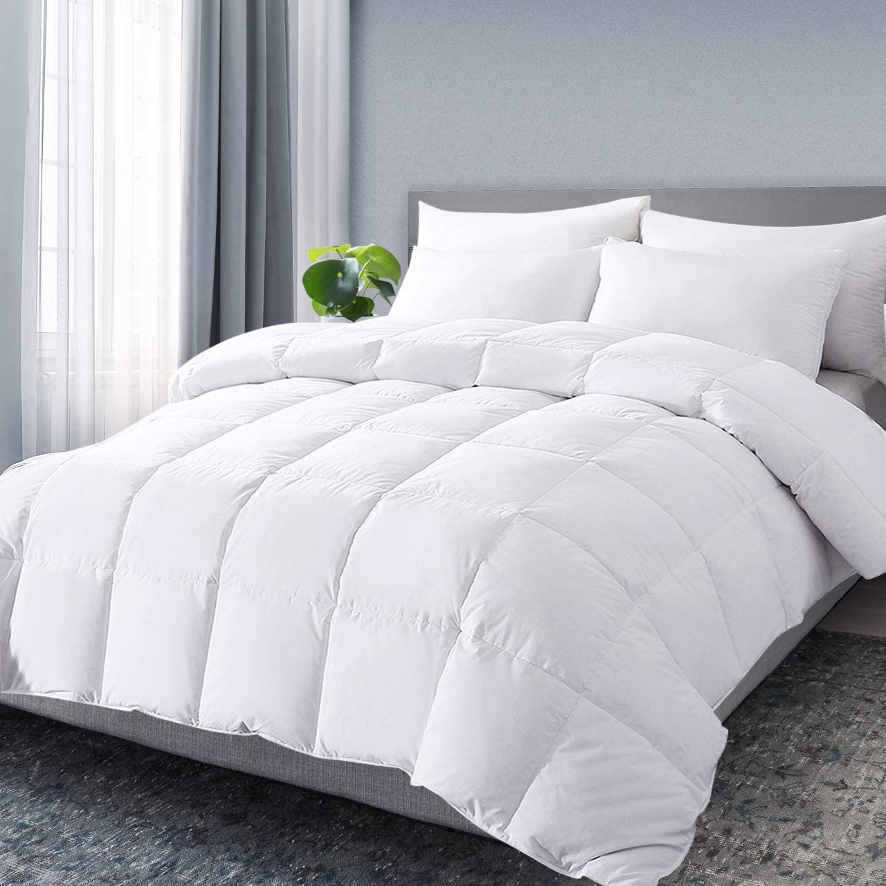 DOWNCOOL Queen Down Comforter, White Goose Duck Down and Feather Filling, Medium Warmth All Season 100% Cotton Quilted Duvet Insert Queen