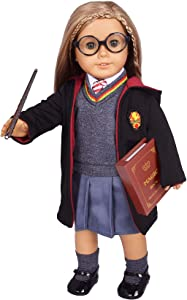 "ebuddy Hermione Inspired Doll Clothes Outfits for American Girl Dolls and 18"" Dolls:10pc Sets (Includes Shirt, Skirt, Sweater, Tie, Socks, Robe, Magic Wind, Glasses, Imitate Book and Shoes)"