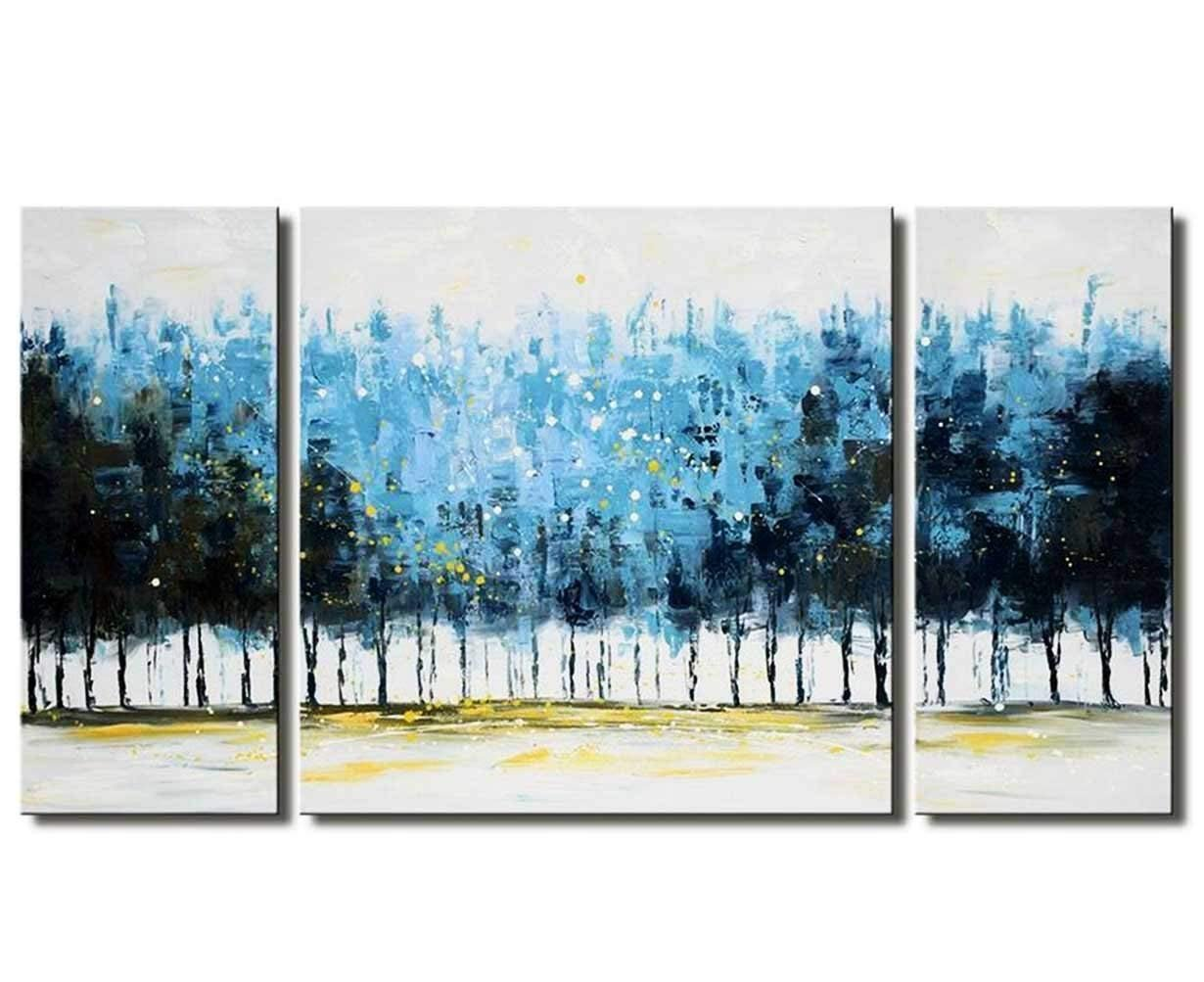 Tree Wall Art Set Hand-Painted 'Mysterious Forest' 3-Piece Large Modern Blue Gallery-Wrapped Framed Oil Painting on Canvas Living Room Decor (Blue, 20x20inchesx1 Panel, 10x20inchesx2 Panel) Aitesi Art