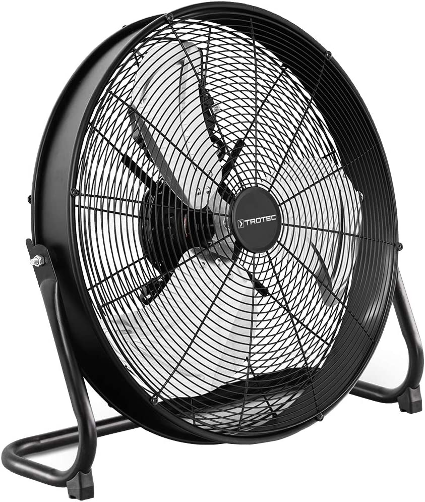 TTROTEC Ventilador de Suelo TVM 20 D, 120 W, 3 Velocidades de Ventilación, Inclinación Regulable 360°, Silencioso, Pie de Apoyo Estable y Antideslizante, Negro
