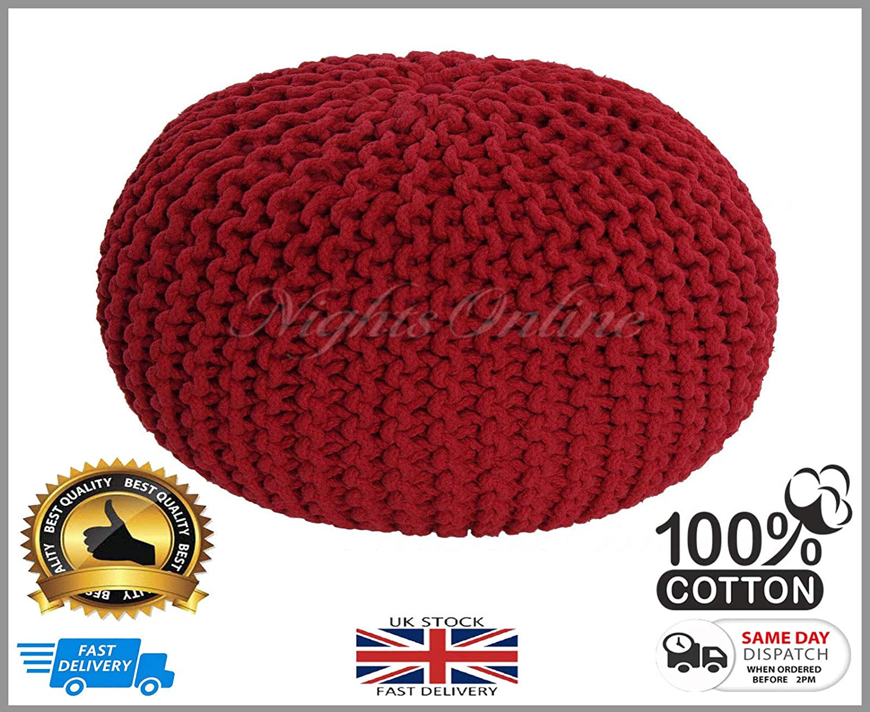 Vetextile Grand Pouf tricot/é 100/% Coton Rouge