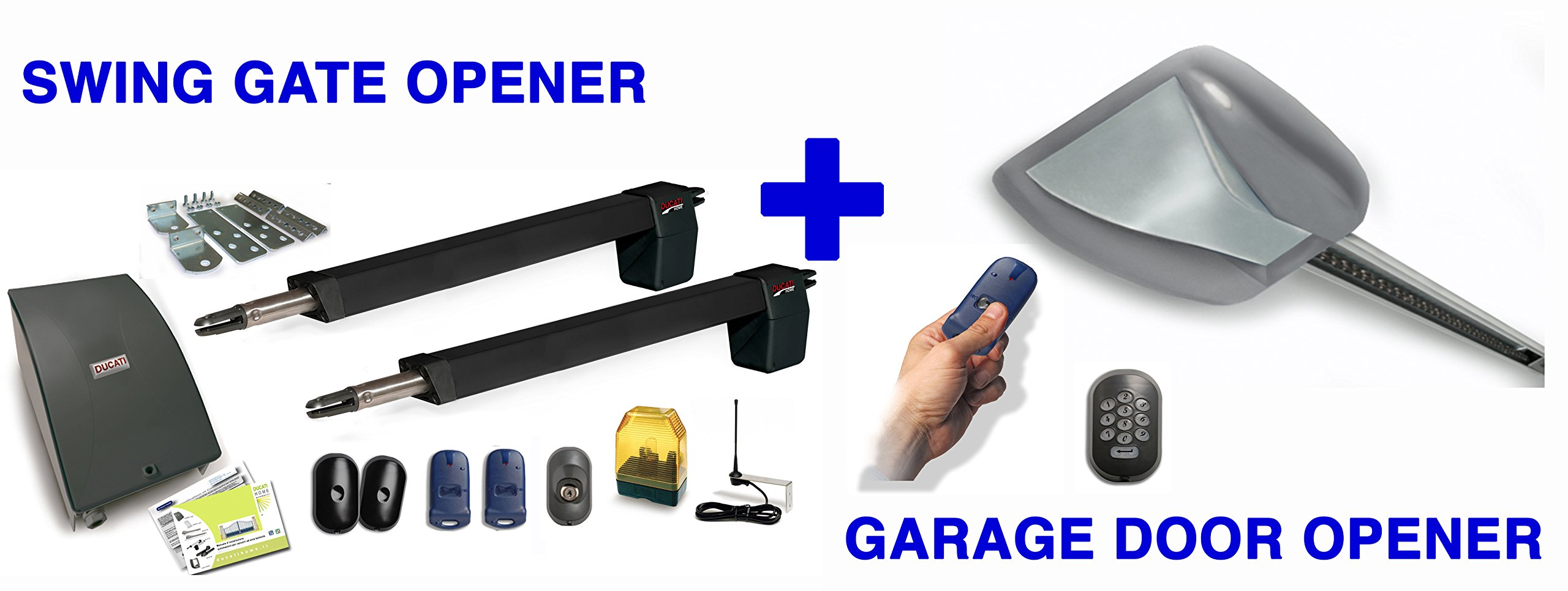 DUCATI DUO PACKAGE : HC812-400 SWING GATE OPENER + 8900BELT GARAGE DOOR OPENER by DUCATI HOME AUTOMATION