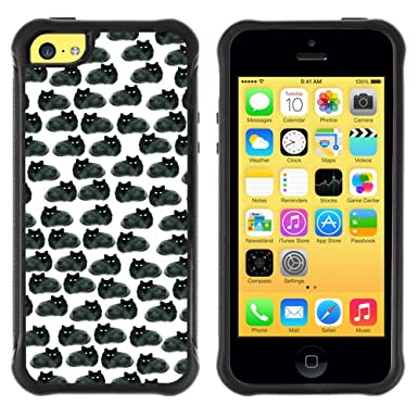 Soft Tpu Protective Case Cover For Apple Iphone 5c Black Cats