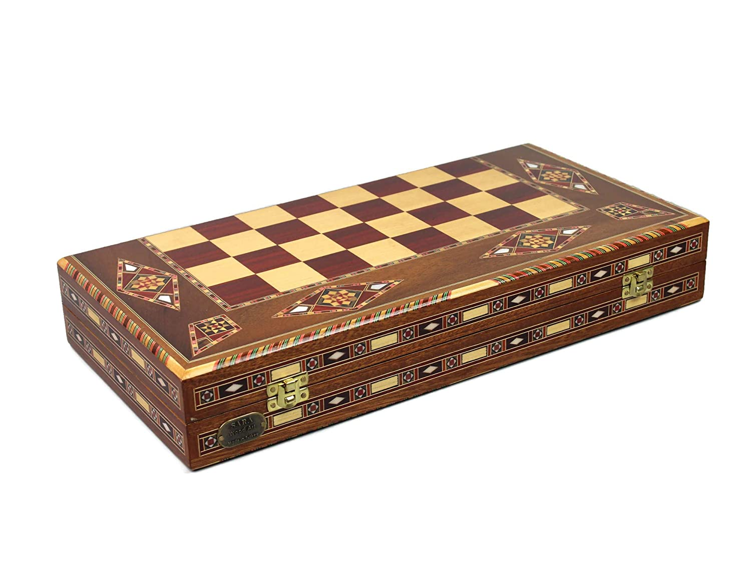 RW17 Chessgammon WOODEN BACKGAMMON TRAVEL SET CHESS CHECKERS SET HANDMADE INLAID RED WALNUT WOOD GAME BOARD MOSAIC INSET MOTHER OF PEARL NOVELTY