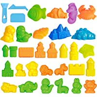 Funlittletoy 32 PCs Sand Toys, Jumbo Sand Molding Tools for Kids, Mold Activity Set with 3D Dinosaur, Castle, Ocean and Animals Mold Playset- Sand Not Included