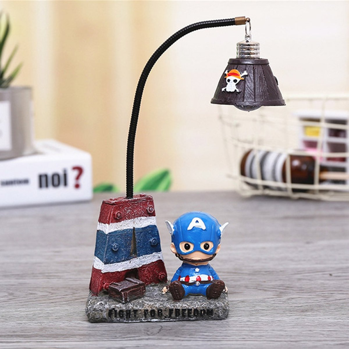 YOURNELO Cute Animals Cartoon Character Marvel Heroes Desk Ornaments Night Light Lamp for Gift (Captain America 1) by YOURNELO