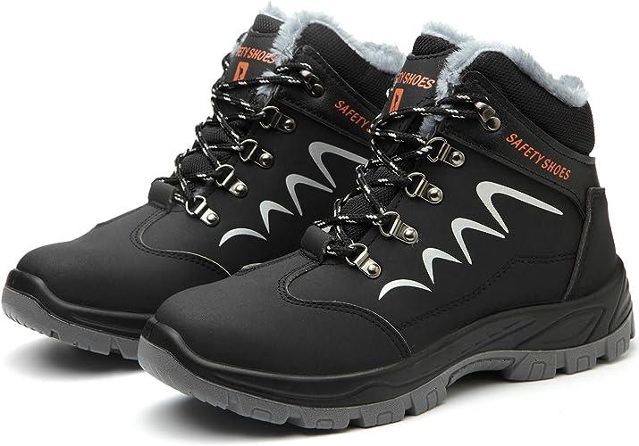 PAQOZKC Chaussure de Securit/é Homme Femme Montante Legere Chaussures de Travail Hiver Embout de Protection en Acier Bottes de S/écurit/é Imperm/éable Chaussure Protection Baskets Chantier