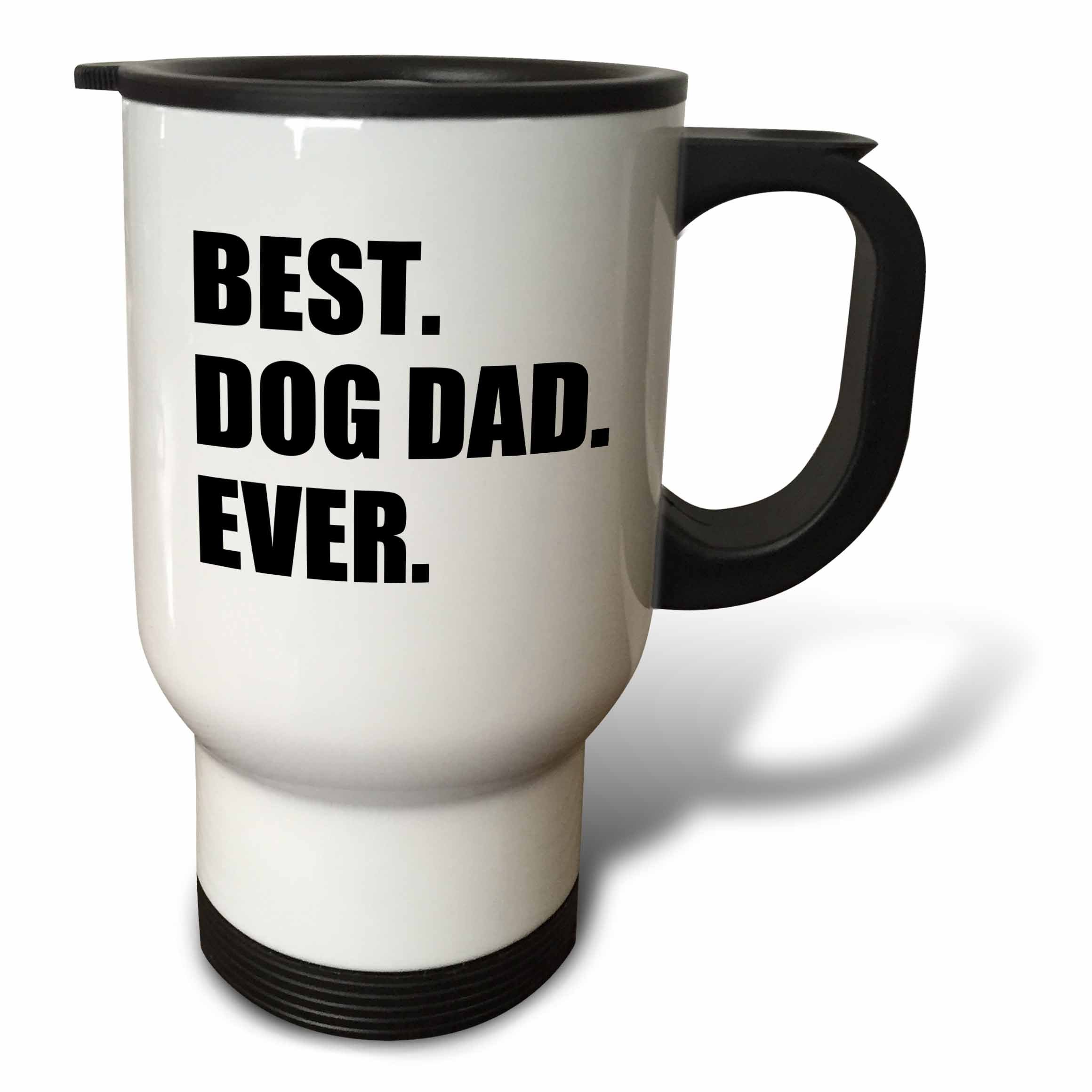 3dRose tm_184992_1 Best Dog Dad Ever Fun Pet Owner Gifts for Him Animal Lover Text Stainless Steel Travel Mug, 14-Ounce, White