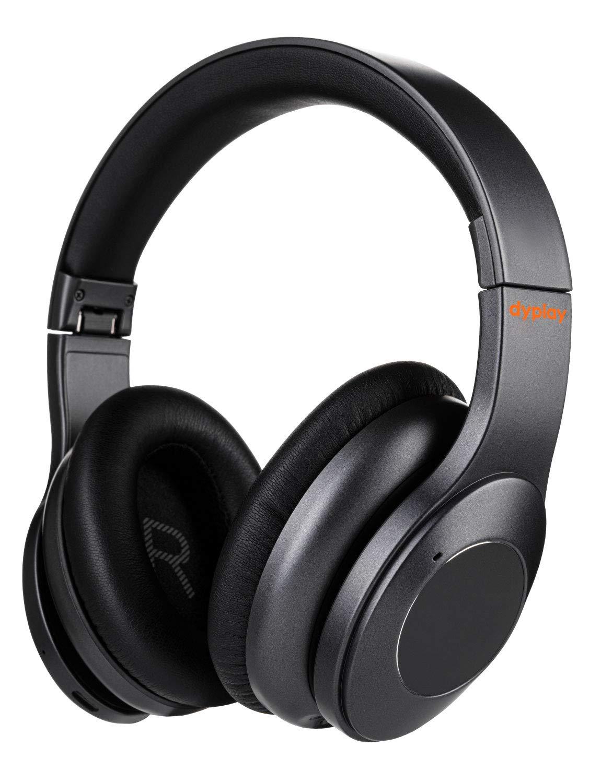 dyplay Hybrid Active Noise Cancelling Headphones, Over Ear Bluetooth Headphones with Dual-Mic Deep Bass/APTX/APTX LL, CVC 6.0 Mic, Soft Protein Earpads, Bluetooth 5.0 Wireless Headset (Black)