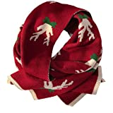 Christmas Scarf Women Fashion Reindeer Thick Knitted Winter Warm Muffler Neck Wrap Knit Cartoon Scarves