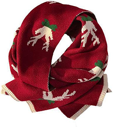 Christmas Scarf Women Fashion Reindeer Thick Knitted Winter Warm Muffler Neck Wrap Knit Cartoon Scarves At Amazon Women S Clothing Store