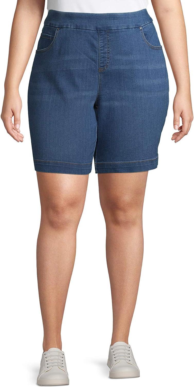 Terra & Sky Women's Plus Size 5 Pocket Pull on Denim Shorts