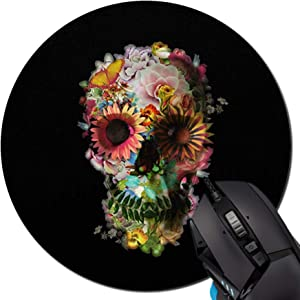 PROEVER Mouse Pad,Flower Skull Pattern Round Mouse Pad Non-Slip Rubber Mousepad Office Accessories Desk Decor Mouse Pads for Computers Laptop