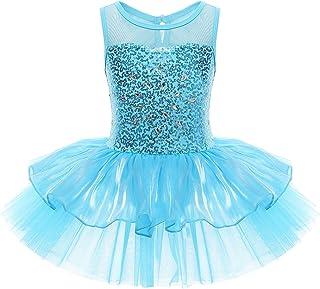 iixpin Mädchen Kleid Ballettkleid Kinder Ballett Trikot Ballettanzug mit Tütü Röckchen Pailletten Kleid in Blau und Rosa