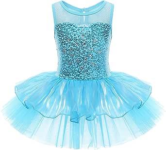 iEFiEL Girls Sequins Glitter Gymnastic Ballet Dress Leotard Tutu Skirt Princess Dancewear Costumes