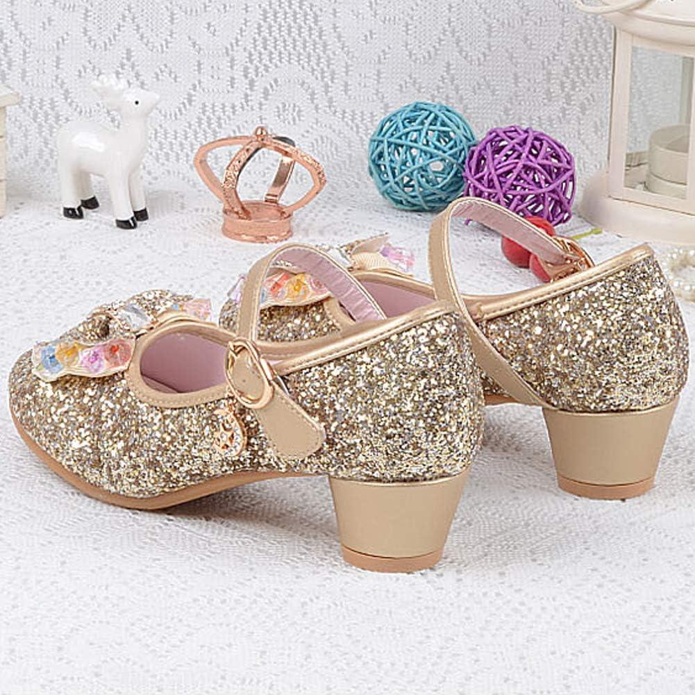 Yudesun Kids Mary Jane Sandals Childrens Girls Court Shoes Princess Style Cute Glitter Bling Dress Party Dancing Festive