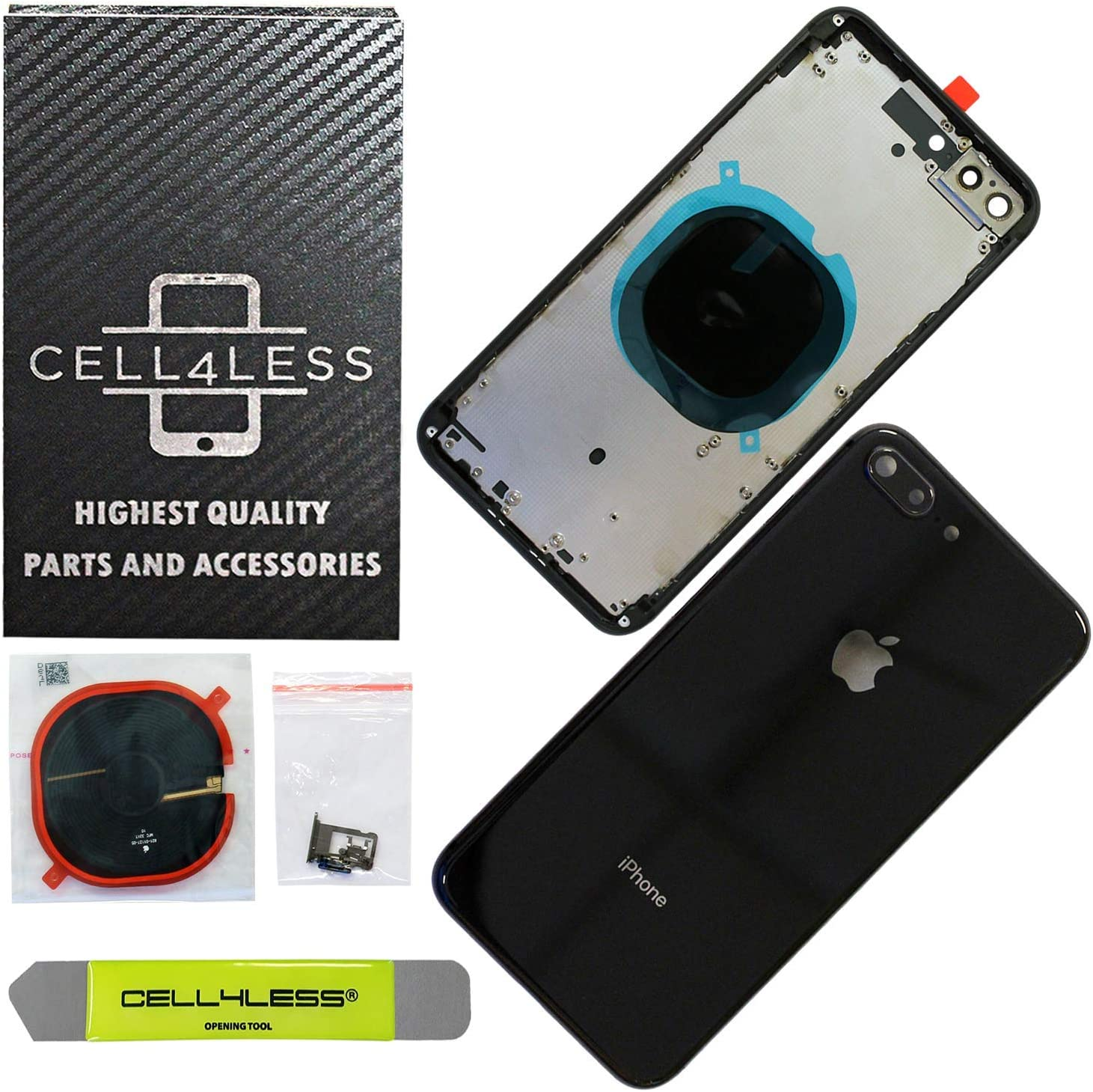 Gold Wireless Charging pad Sim Card Tray and Camera Frame w//Lens Compatible Only with iPhone 8 Plus CELL4LESS Back Housing Assembly Metal Frame w//Back Glass