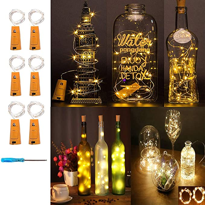 Amazon.com: huixiang corcho botella de vino de luz LED ...