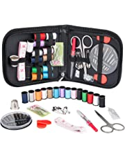 Coquimbo Sewing Kit for Traveler, Adults, Beginner, Emergency, DIY Sewing Supplies Organizer Filled with Scissors, Thimble, Thread, Sewing Needles, Tape Measure etc (Black, S)
