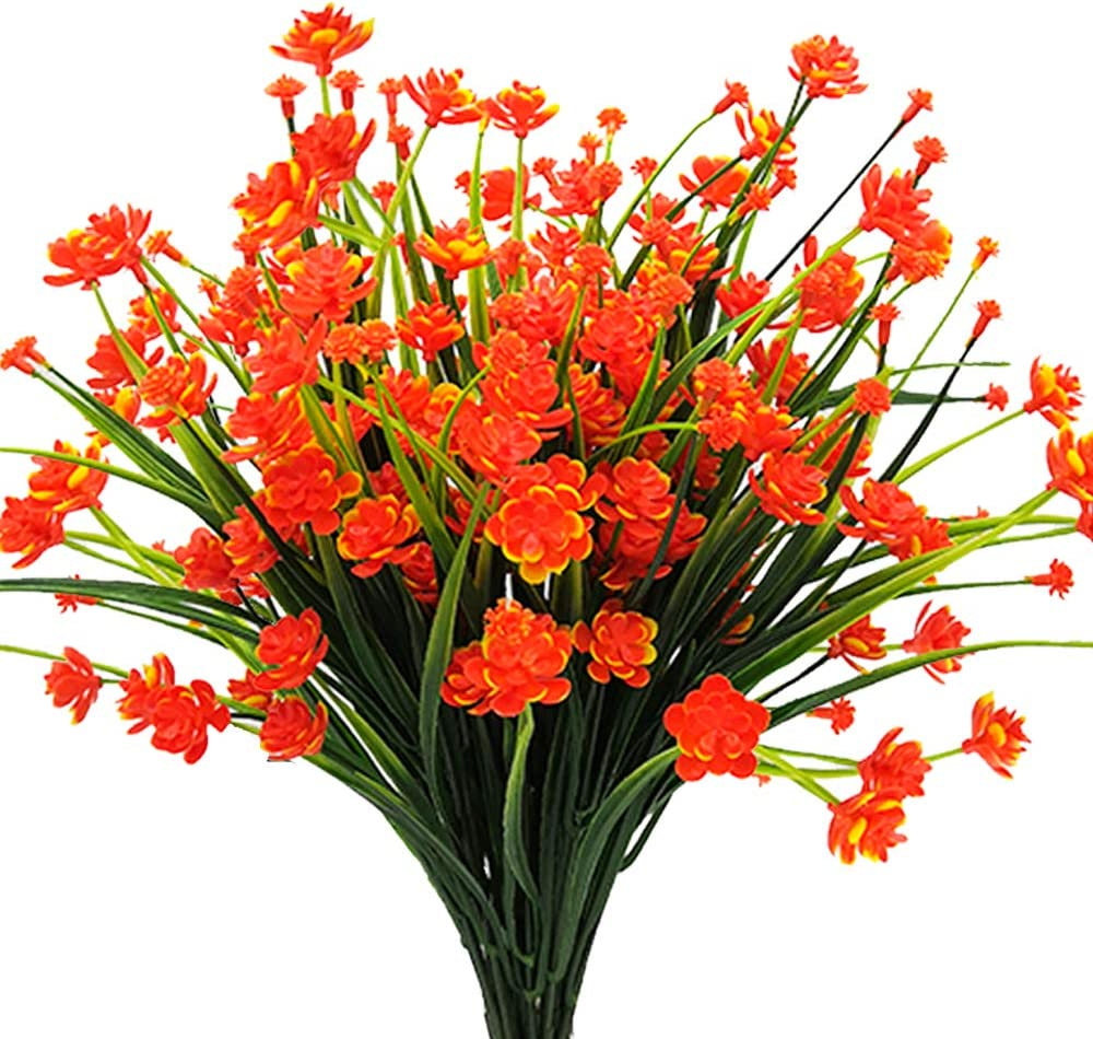 AITISOR Artificial Flowers Fake Outdoor Plants Faux UV Resistant Flower Plastic Shrubs Indoor Outside Hanging Decorations (Orange)