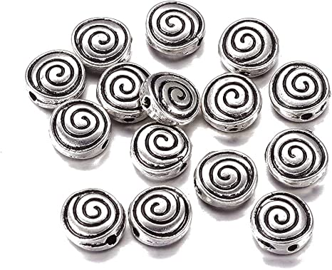 50 Silver White Swirl Tube Noodle Beads Jewelry Making Findings DIY Supply