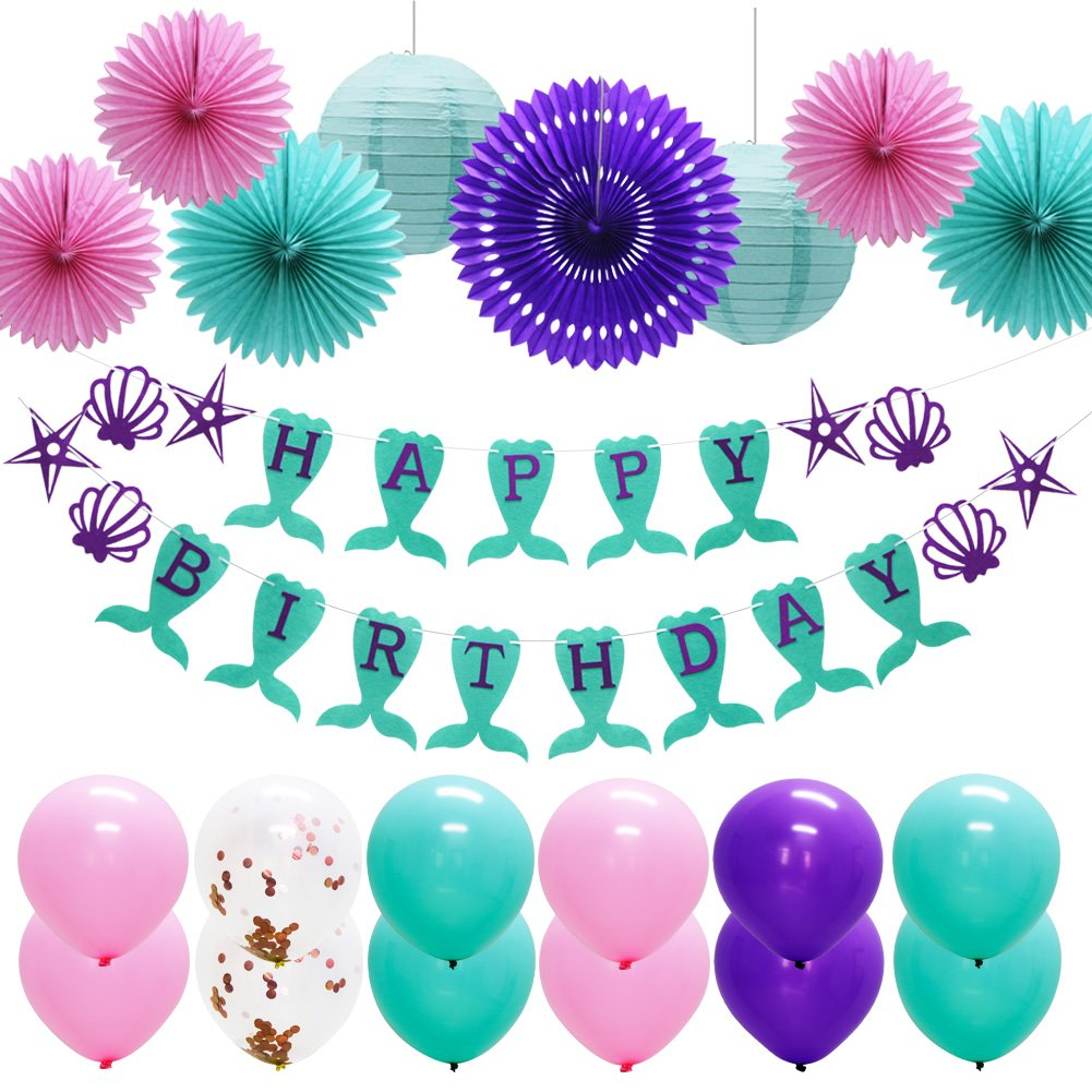 Mermaid Birthday Party Supplies, Under the Sea Party 21pcs Teal Pink Purple Hanging Paper Tissue Fans Lanterns Balloons Happy Birthday Banner for Baby Shower Decor Frozen Party Decorations