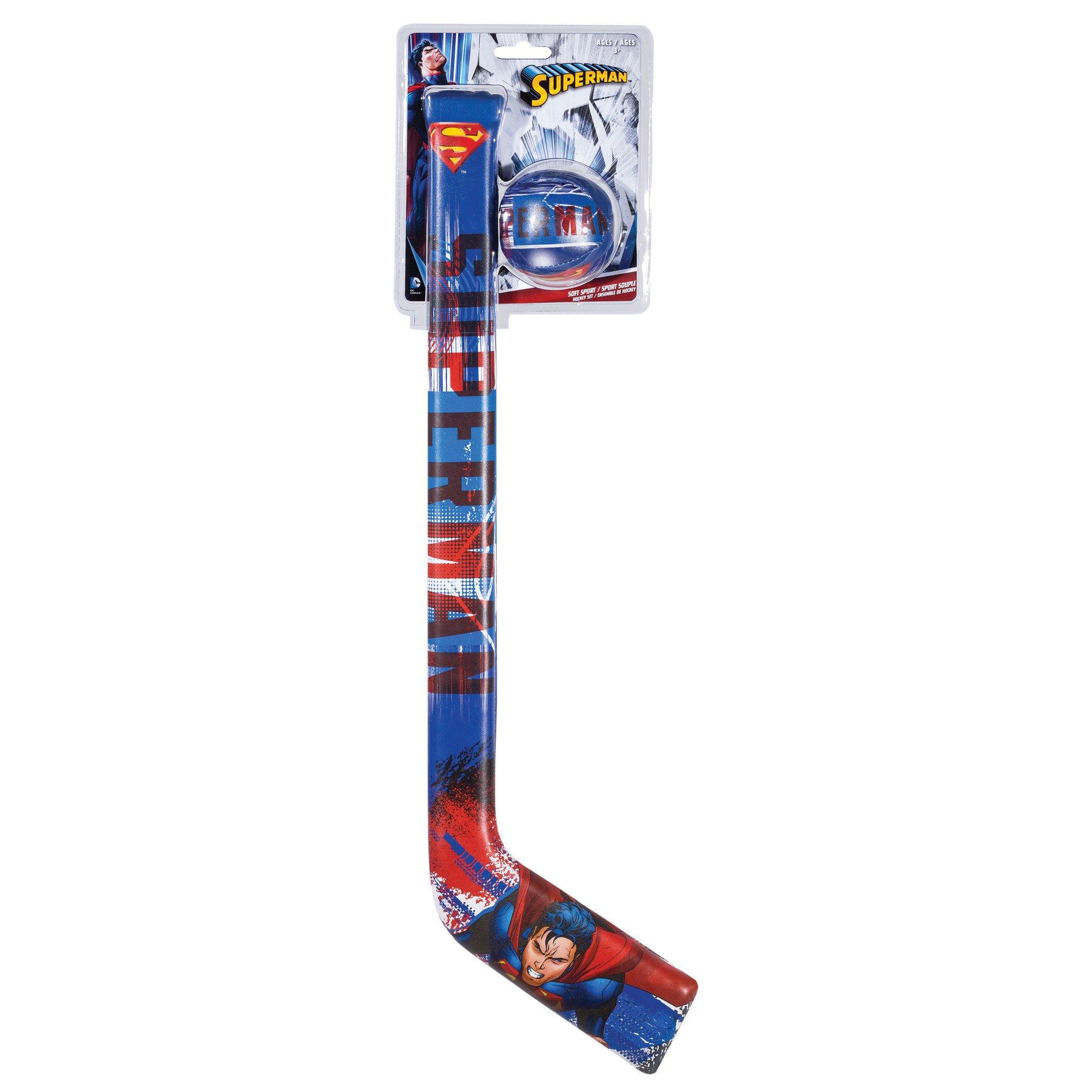 Franklin Sports Soft Sport Hockey Set-Superman Game, Blue