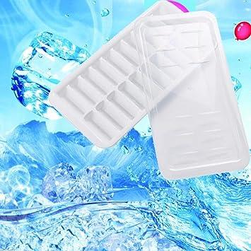 hkfv excelente nuevo diseño creativo cubitos de hielo de verano con 20 cubos de hielo moldes hielo apilable de plástico forma diseño con funda 16.8 * 9 cm ...