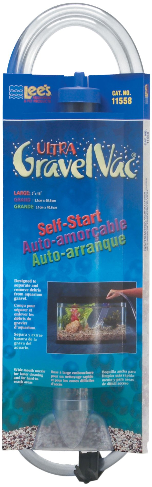 Lee's Ultra GravelVac, Self-Start with Nozzle & Hose Clip - 16'' Large by Lee's