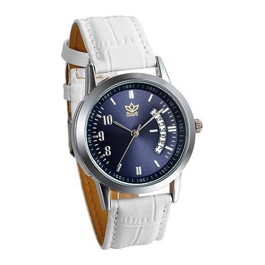 JewelryWe Relojes para Parejas Blanco con Esfera Azul Oscuro, Reloj de Cuarzo Correa de Piel Con Calendario Diseño Casual, Regalo para Navidad San Valentín, ...