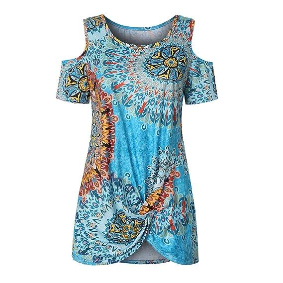 TOPSELD - Camisa para Mujer, con Hombros fríos, Corbata con Nudo ...