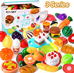 FLY2SKY Play Food Kitchen Toys Kids Cutting Toys Set Pretend Food Playset Toddlers Girls Boys Christmas Birthday Gifts Learning Toys with Storage Bag, 3 Series (Fruits+Veggies+Cakes)