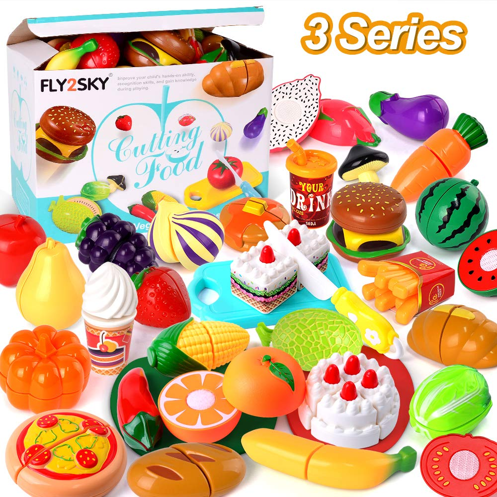 FLY2SKY Play Food Kitchen Toys Kids Cutting Toys Set Pretend Food Playset Toddlers Girls Boys Christmas Birthday Gifts Learning Toys with Storage Bag, 3 Series (Fruits+Veggies+Cakes) by FLY2SKY