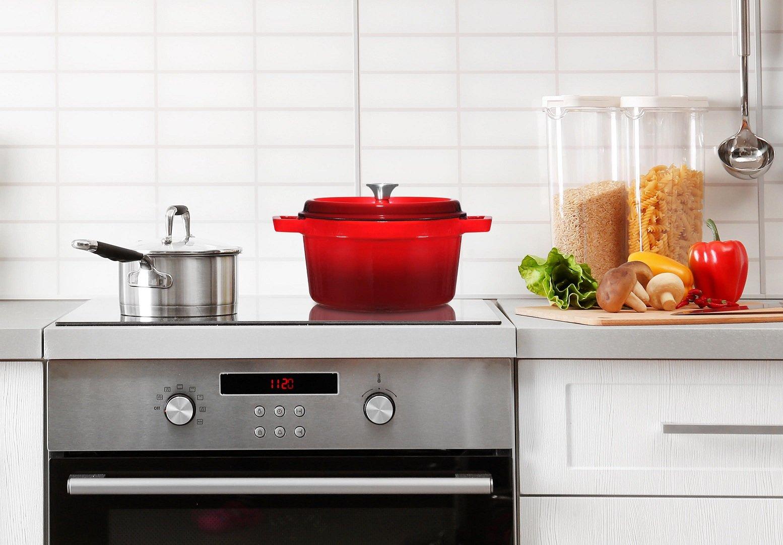 Bruntmor, Enameled Cast Iron Dutch Oven Casserole Dish 6.5 quart Large Loop Handles & Self-Basting Condensation Ridges On Lid (Fire Red) by Bruntmor (Image #5)