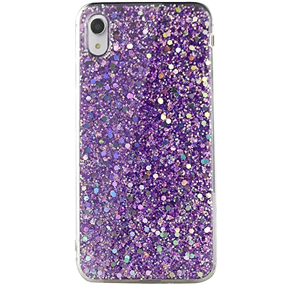 buy popular 31a67 3172b Flocute Bling Glitter Case for iPhone XR Luxury Sparkle Slim Lightweight  Flexible Soft Gel TPU Protective Clear Case - (Purple)