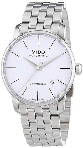MIDO Baroncelli II M86004761 - Reloj de caballero automático, correa de acero inoxidable color plata: Amazon.es: Relojes