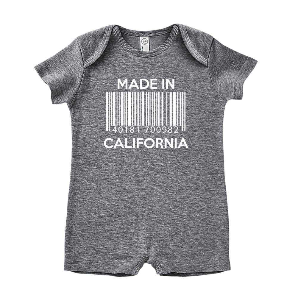 Made in California Baby Romper Barcode