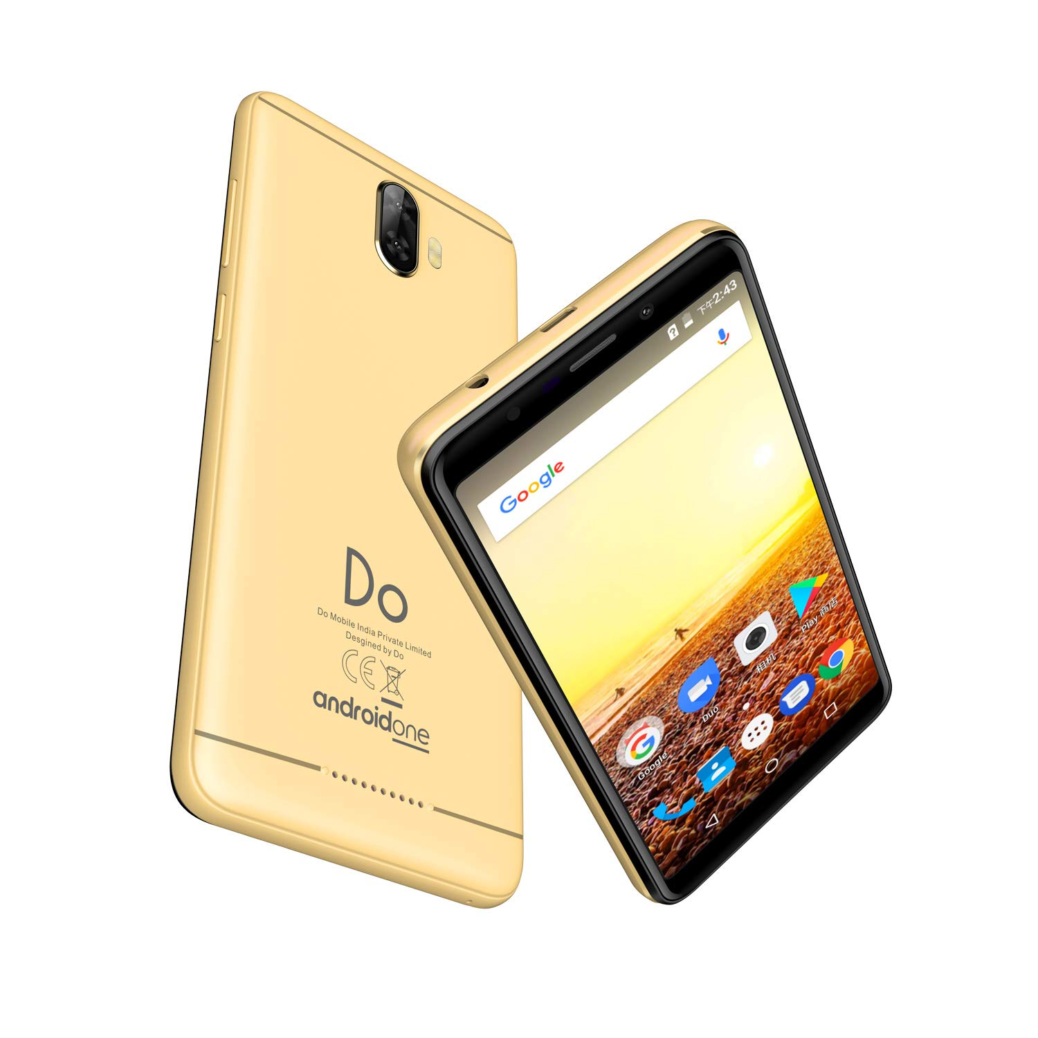 Do Mobile Mate-1 Dual Sim, Volte, Android, 4G Smartphone - (Gold)