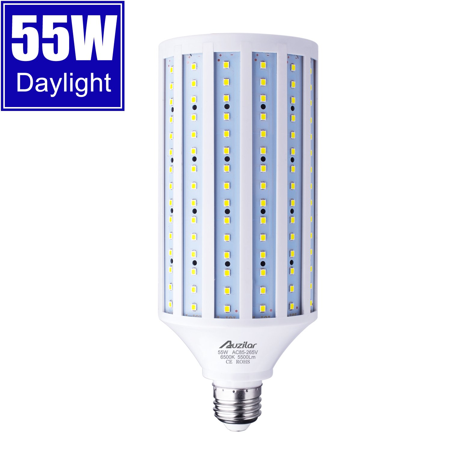 55W LED Corn Light Bulb for Indoor Outdoor Large Area, E26 5500Lm 6500K Cool White,Super Bright Daylight LED Corn Bulb for Garage Barn Workshop Warehouse Factory Porch Backyard High Bay, 85V-265V