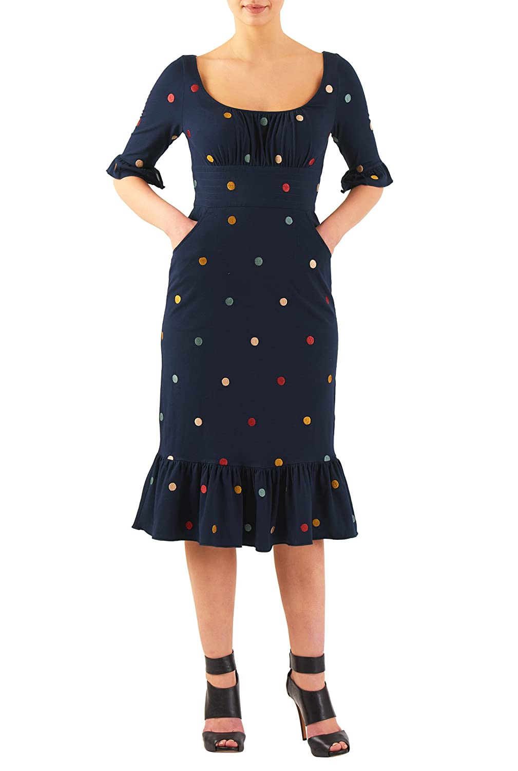 1950s Polka Dot Dresses Flounce hem embellished dot cotton knit sheath dress $57.95 AT vintagedancer.com