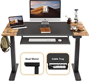 FEZIBO Dual Motor Height Adjustable Electric Standing Desk, 48 x 24 Inches Full Sit Stand Home Office Table with Splice Board, Black Frame/Rustic Brown and Black Top
