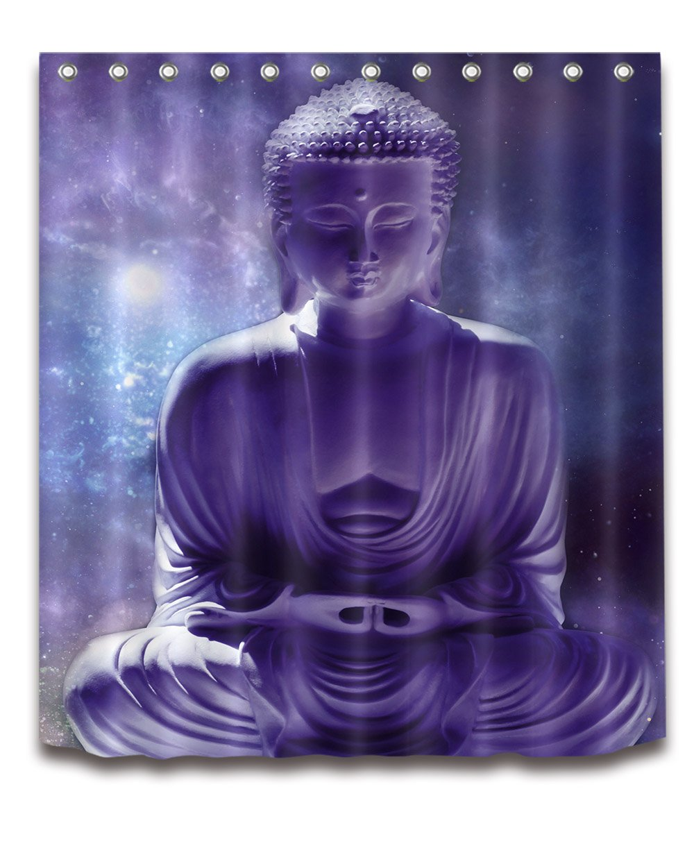 LB India Spa Zen Buddha Water Yoga Hot Spring Meditation Decoration Shower Curtain Polyester Fabric 3D 60x72 inch Mildew Resistant Waterproof Purple Sky Galaxy Bathroom Bath Curtains Liner Set Hooks
