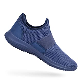 Feetmat Mens Tennis Shoes Slip On Running Gym Shoes Laceless Knitted Workout Fashion Sneakers Blue 9.5