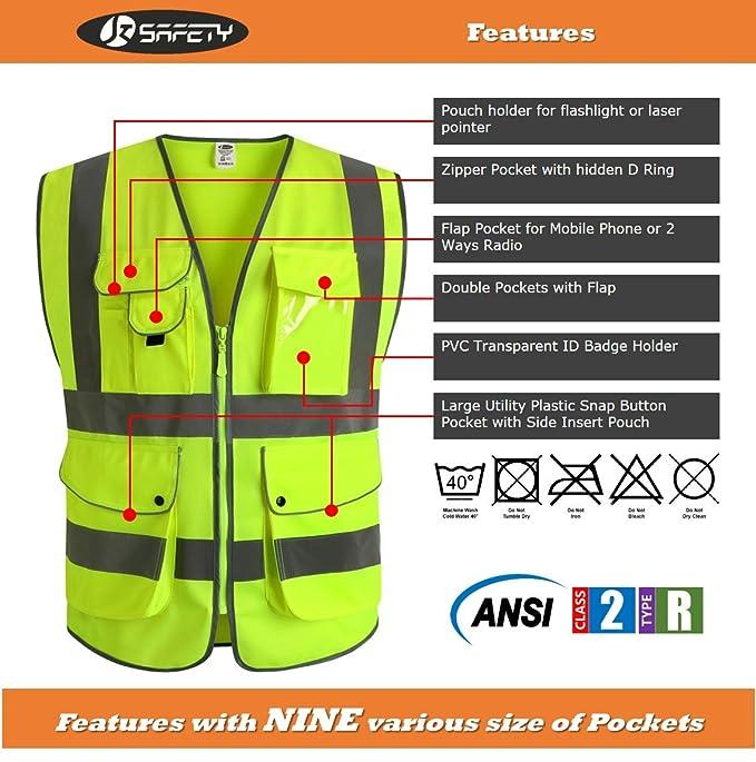 JKSafety Nueve bolsillos Nivel 2 Uniforme trabajo Chaleco con cremallera-Chaleco reflectante fluorescente-Chaleco de segurida (Large): Amazon.es: Bricolaje ...