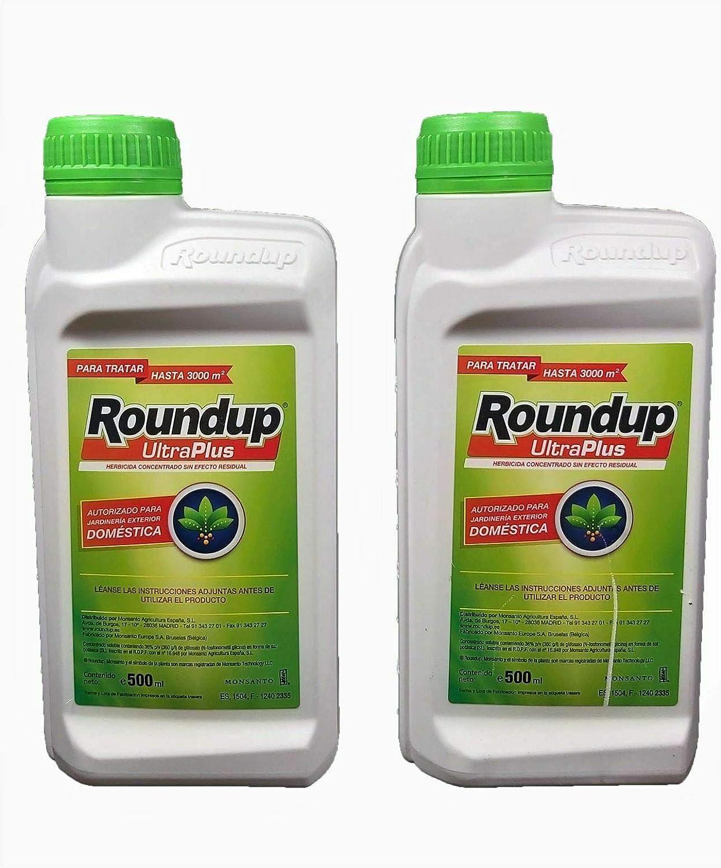 Todo Cultivo herbicida Roundup ultraplus glifosato 36% 1litro. Pack 2 uds de 500 ml. (60 litros de Agua). Herbicida liquido Concentrado sin Efecto Residual.: Amazon.es: Jardín