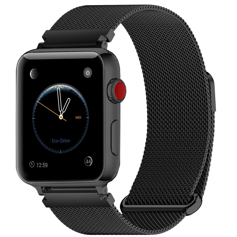 MUEN para SmartWatch Watch 38mm(40mm) Correa Negro Milanese Loop de Reemplazo para iWatch Series 4 Series 3 Series 2 Series 1 Sport SmartWatch Strap ...
