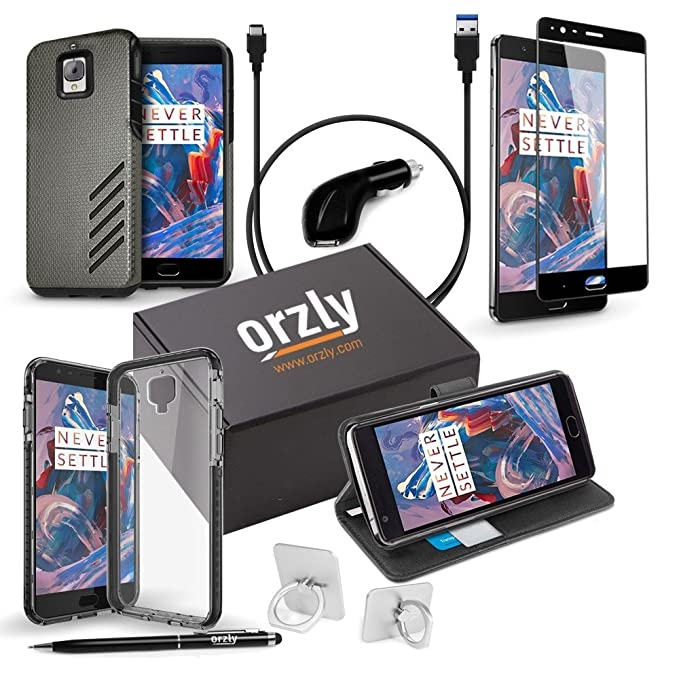 OnePlus3 / OnePlus3T Case and Accessory Bundle Pack by Orzly - Includes: 1x  Car Charger, 1x TypeC Charging Cable, 1x Glass Screen Protector, 1x Stylus